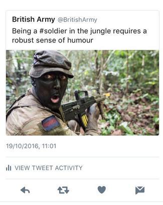 British Army blackface tweet