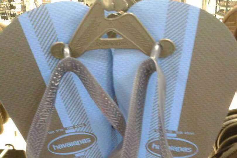 Black and blue flip flops
