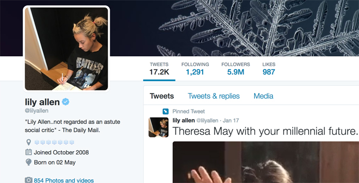 Lily Allen Twitter Profile