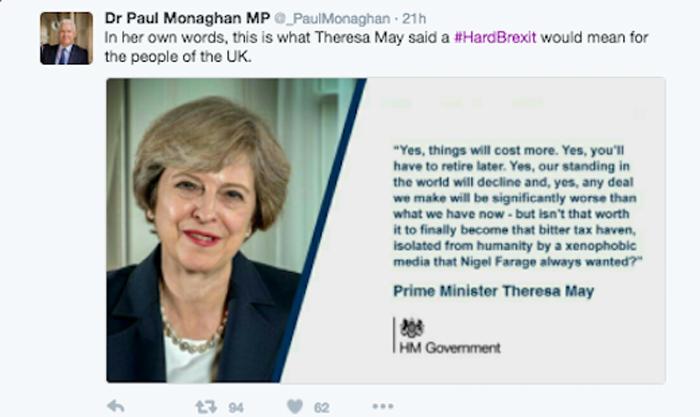 Paul Monaghan Tweet