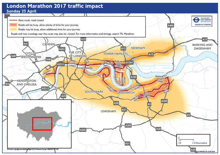 London Marathon Travel Map