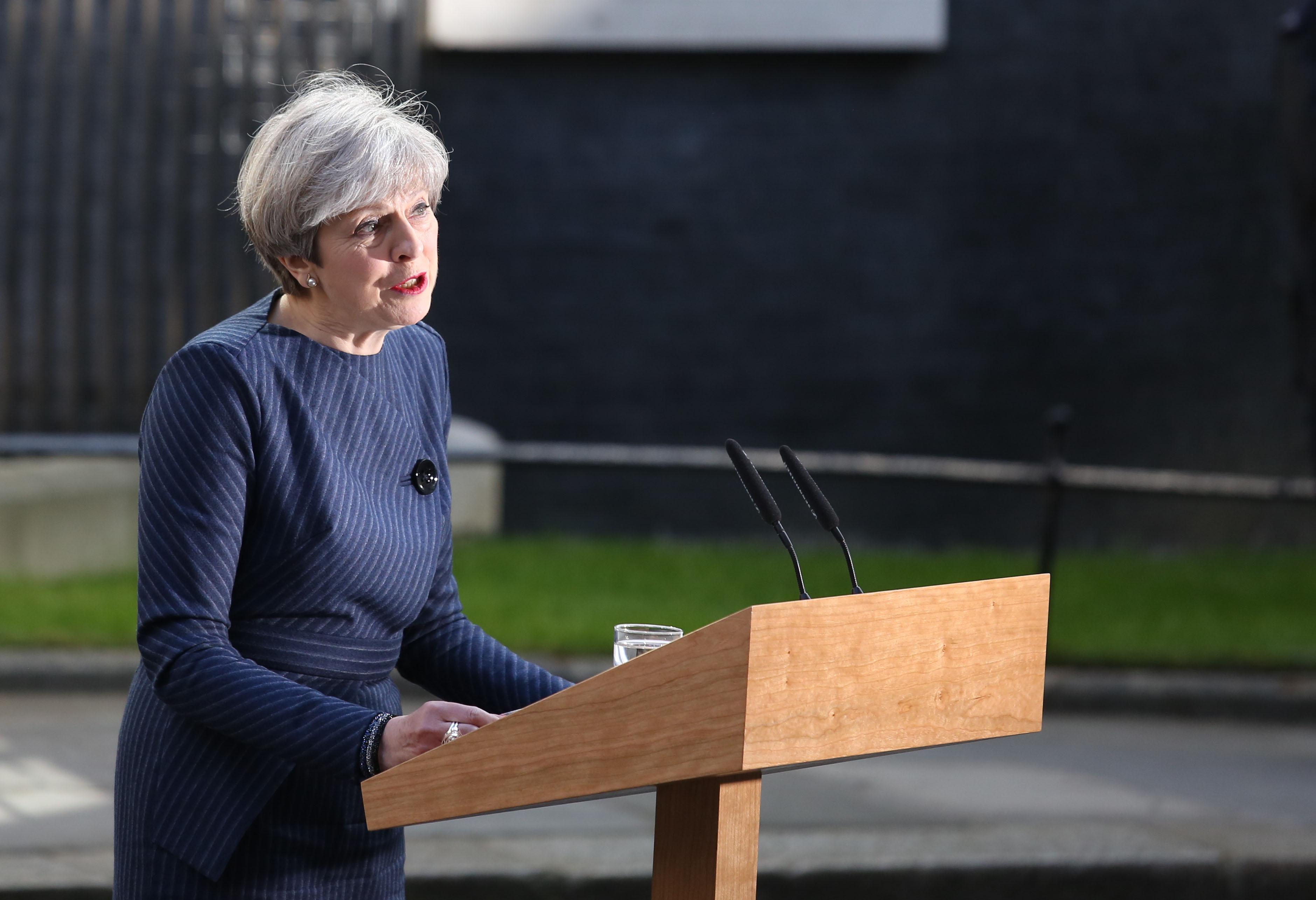 Theresa May general election podium