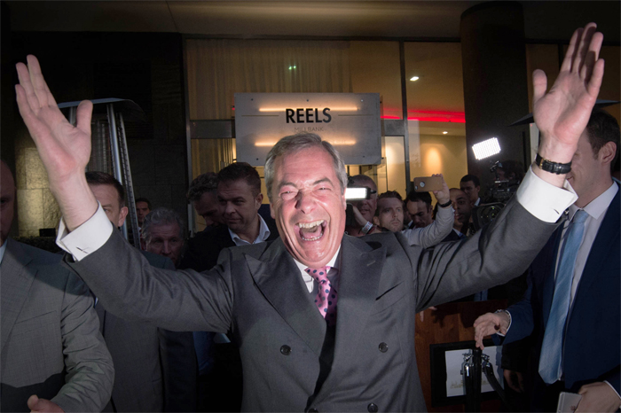 Nigel Farage Celebrating Brexit