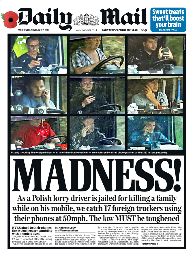 Daily Mail Front Page Madness