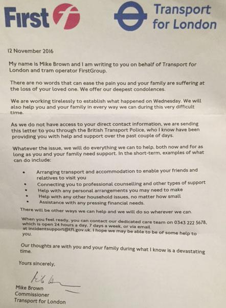 Croydon Tram letter
