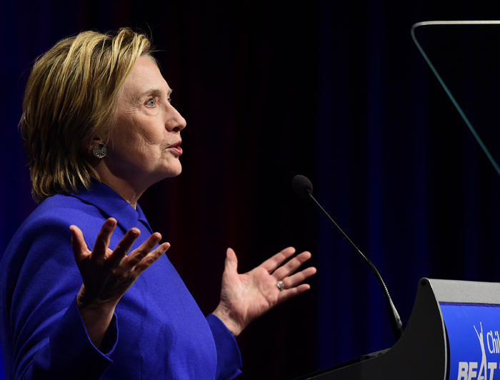 Hillary Clinton Hands Out