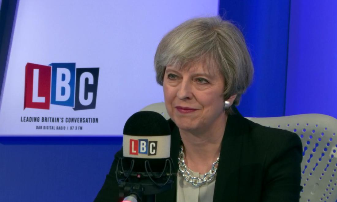 Theresa May LBC studio