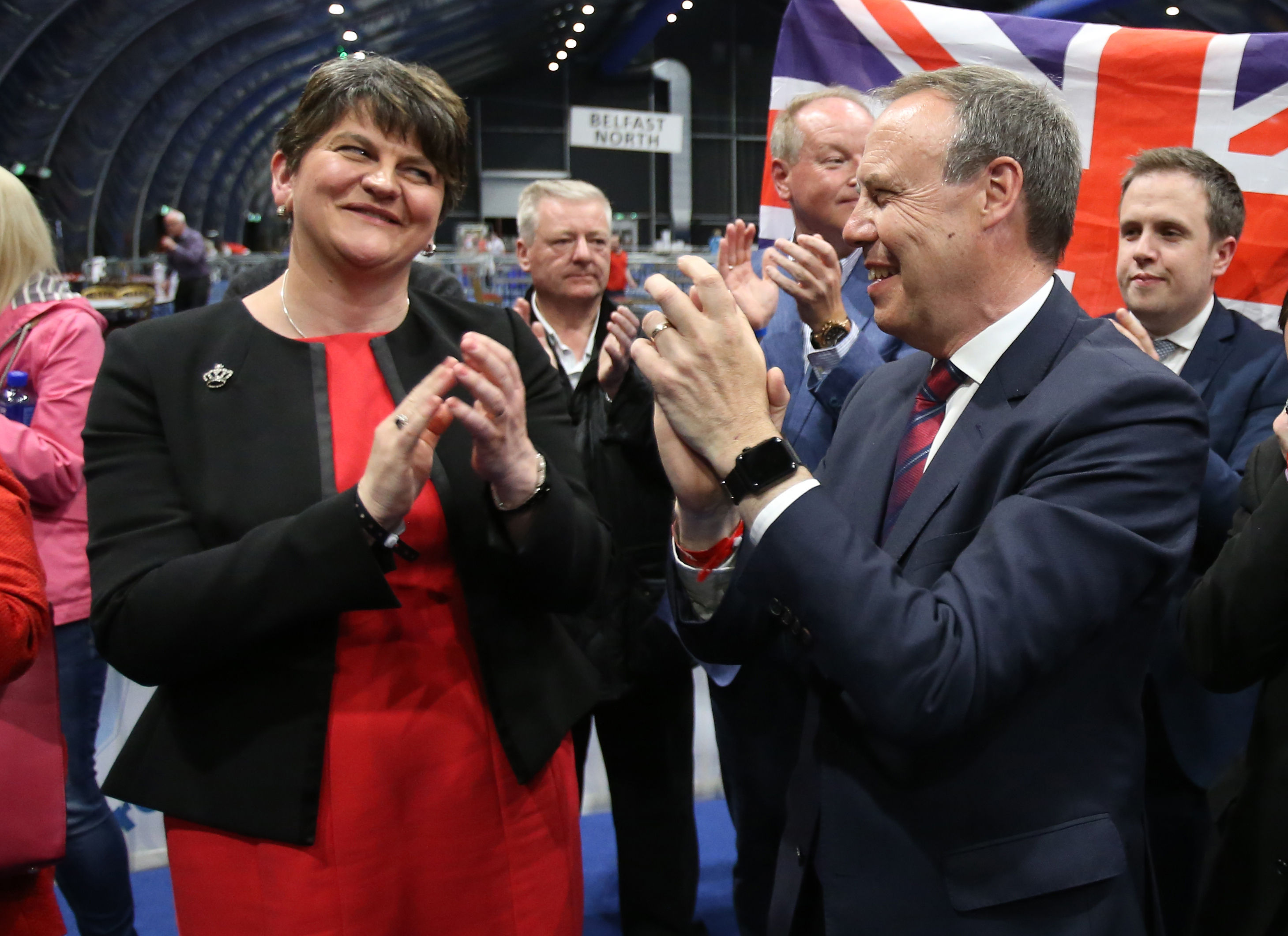 Victorious Arlene Foster and Deputy Leader