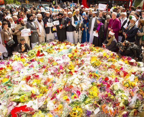 A sea of flowers remembers the five people killed in the Westminster Terror attack