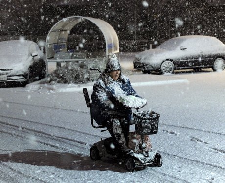 One brave disabled woman braves a snowstorm