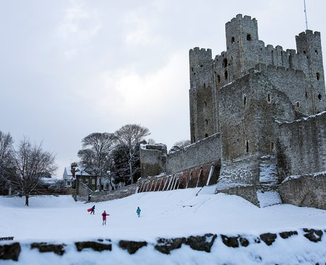 Rochester Castle in the snow