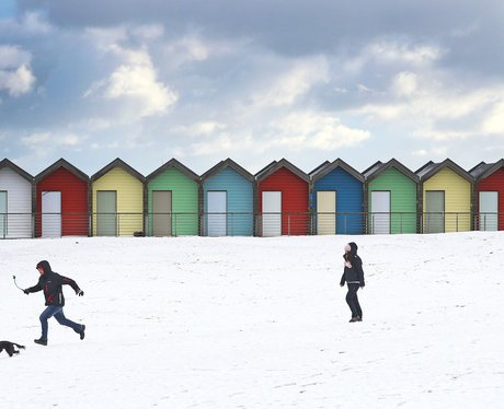 The charming beach huts in Blyth Beach, Northumber