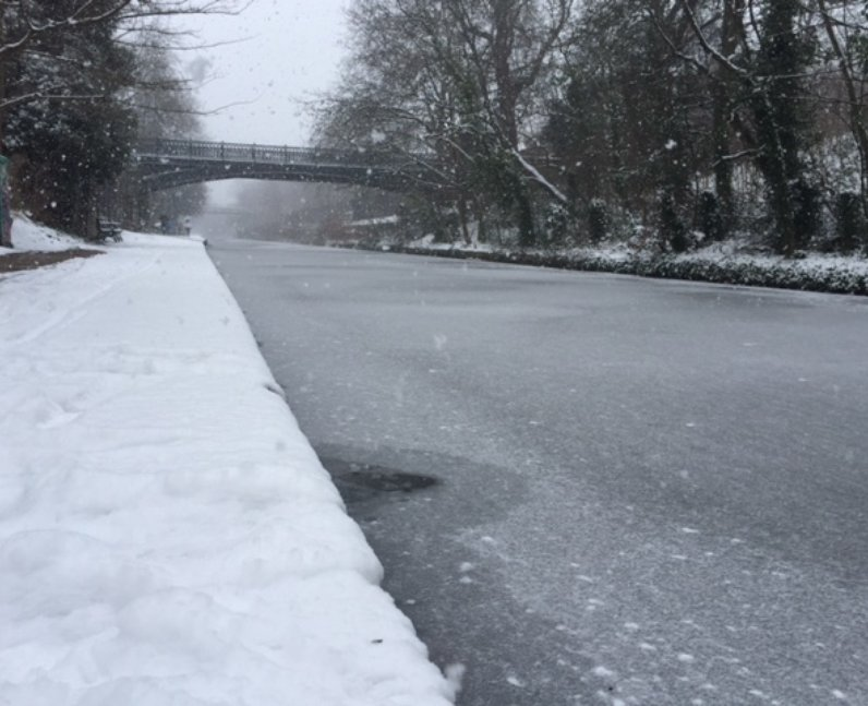 The Regent's Canal in London was also frozen over