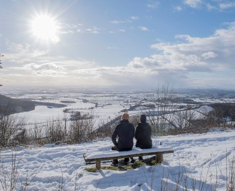 The snow-covered fields of Thirsk at Sutton bank N
