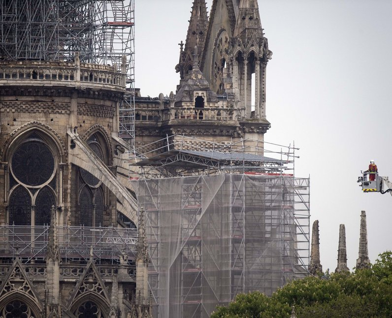 The main structure and towers of the iconic cathedral were 'saved' after spire and roof collapsed