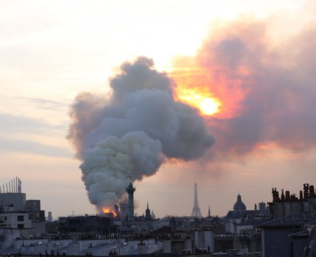 Smoke could be seen billowing across the Parisian